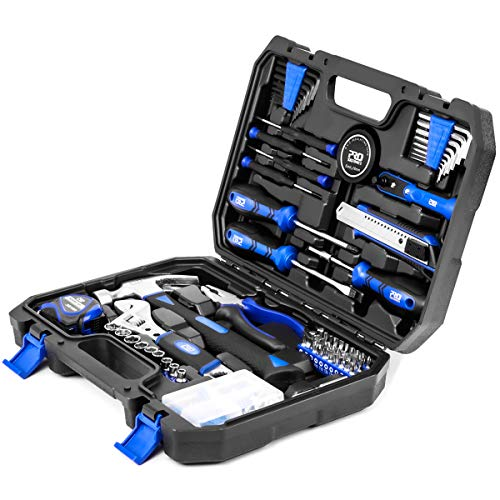 120-Piece Home Repair Tool Set, PROSTORMER General Household Hand Tool Kit with Tool Box Storage Case for Apartment, Garage, Dorm and Office