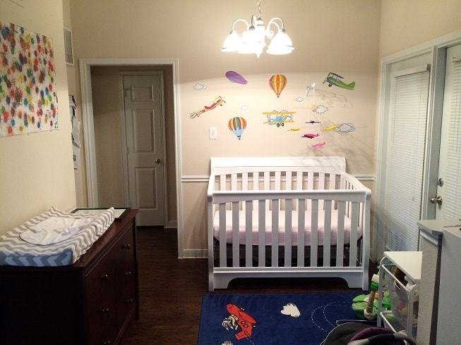 A nursery in a one bedroom apartment