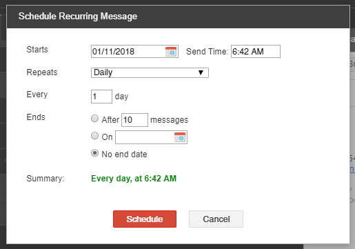 Schedule a recurring email to track goals
