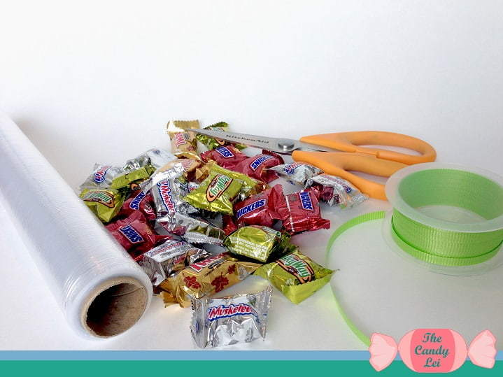 Supplies to make a basic candy lei