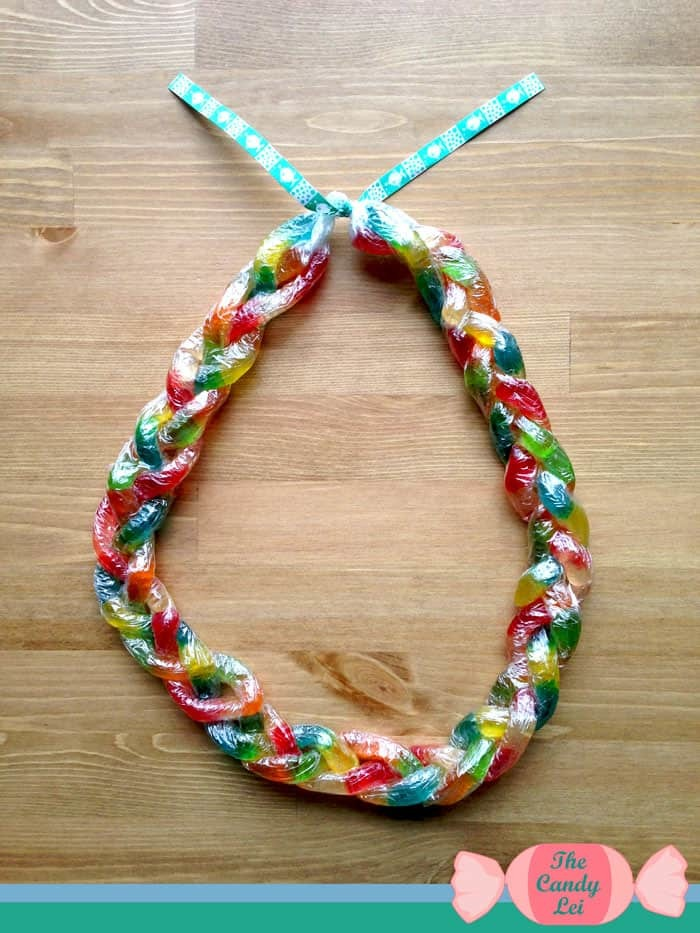 Completed gummy worm candy lei