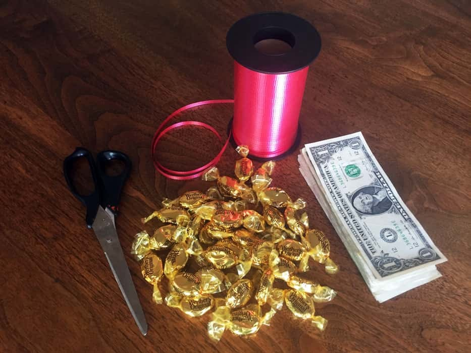 Materials needed to make a money lei
