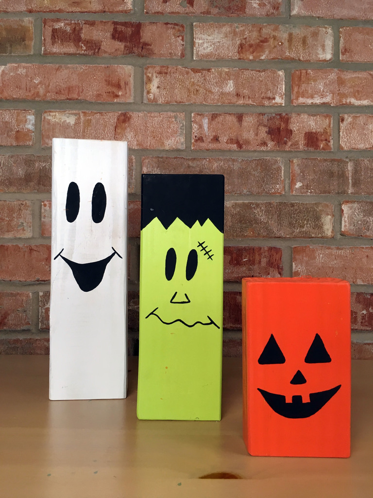 2x4 halloween characters painted and ready to display