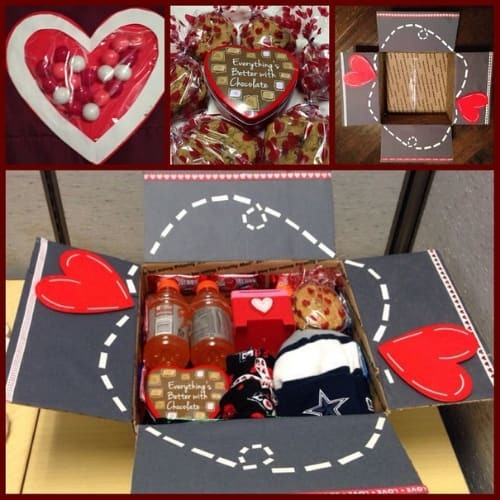 Cute Valentines day care package while your away from your loved one.