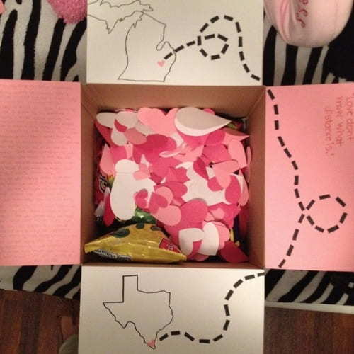 Valentines day care packages for when you're separated from a loved one.