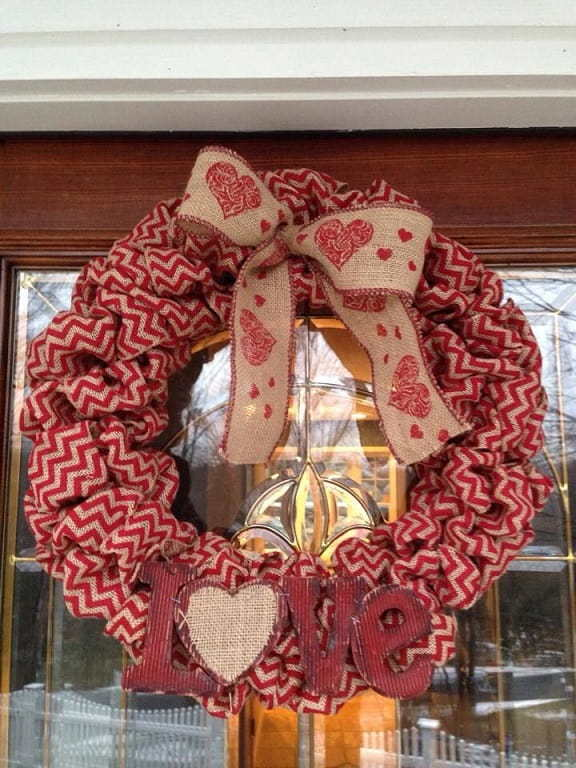 Ribbon valentines day wreath