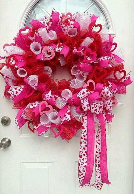Colorful pink valentines day wreath for February