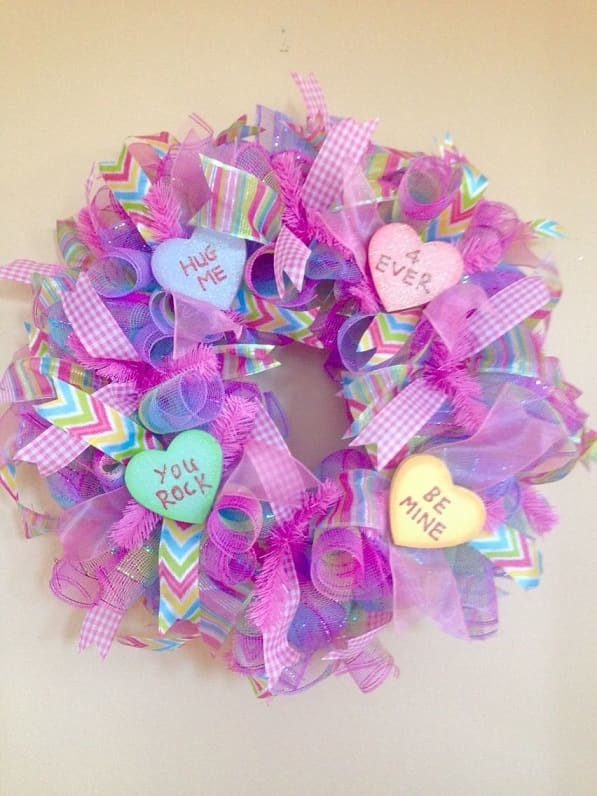 Pink and Purple Valentine's Day wreath