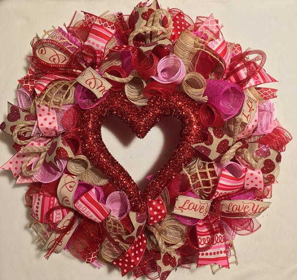Love this bright Valentine's Day Wreath