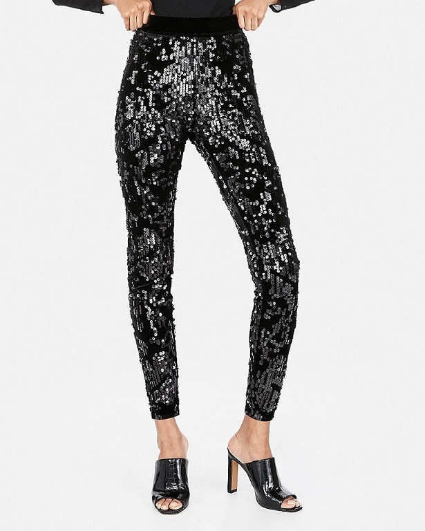 Black Sequin leggings for New Years Eve party