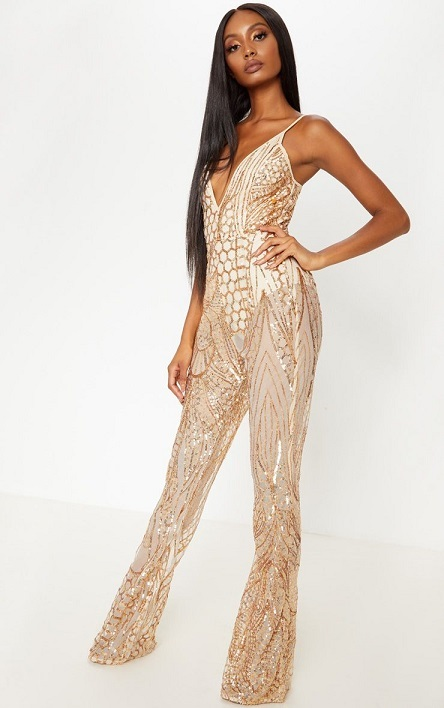 Flared leg sequin jumpsuit for new years eve party