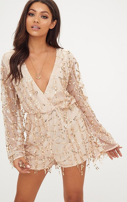 Cute gold and pink sequin romper