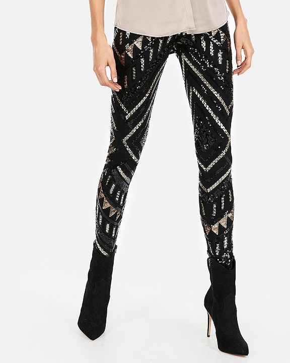 Patterned black leggins for new years eve party
