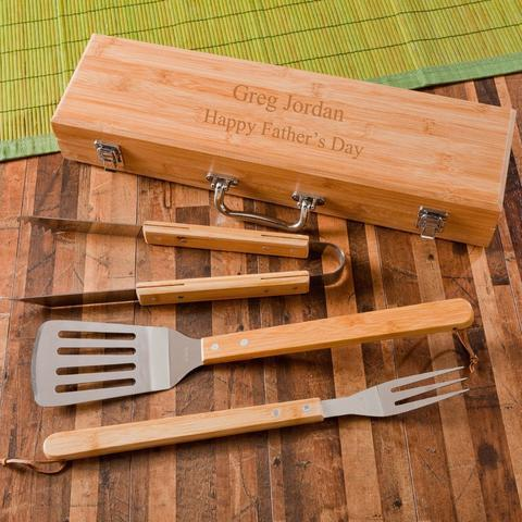Does he love to grill? This personalized grill set is a perfect Valentines Day gift.