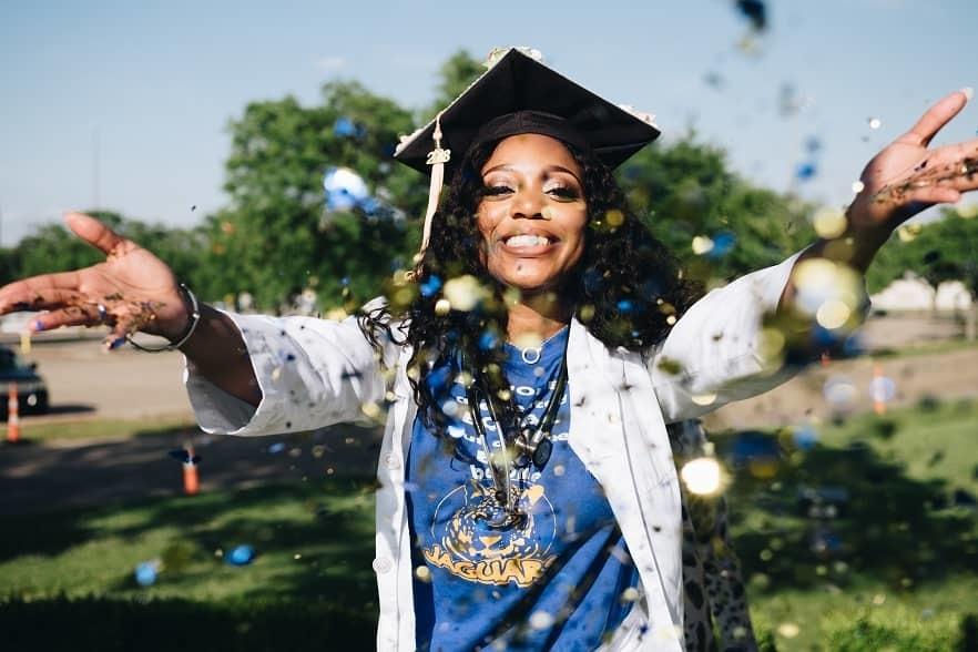Graduation picture with confetti