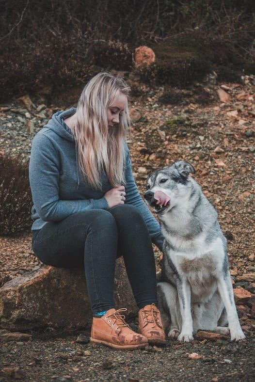 Beautiful dog with its owner in a senior picture