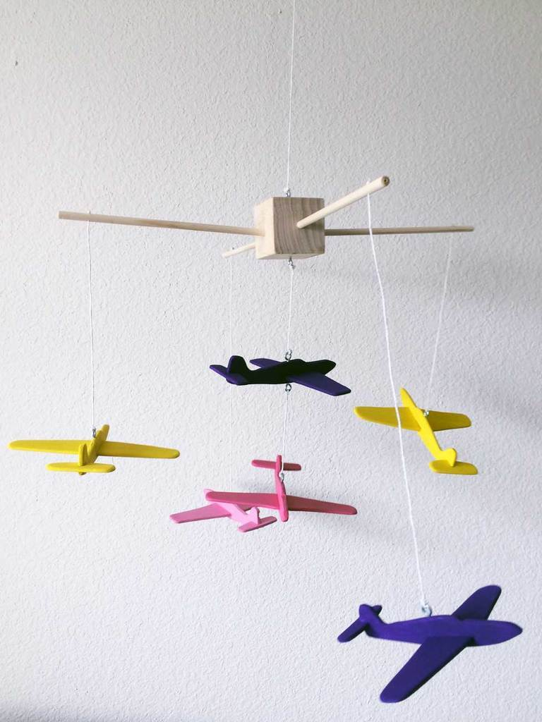 The finished airplane mobile for your nursery